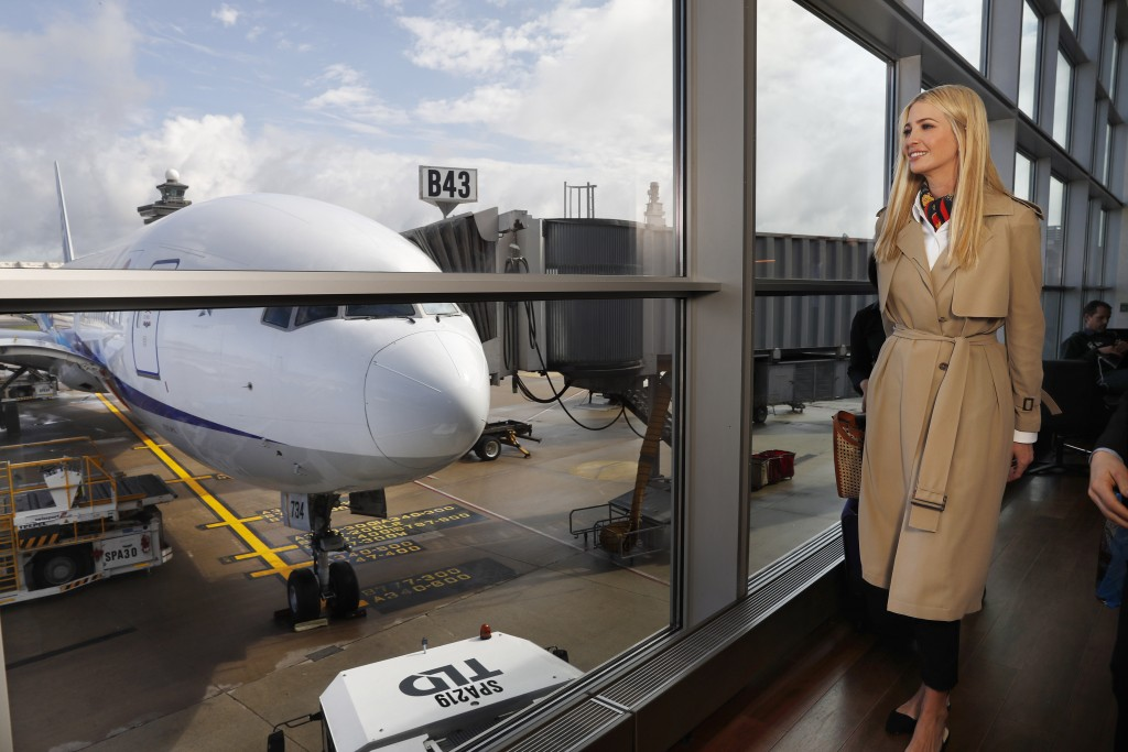 White House senior adviser Ivanka Trump walks past an airplane as she leaves an airport lounge before boarding a commercial flight from Dulles Interna...