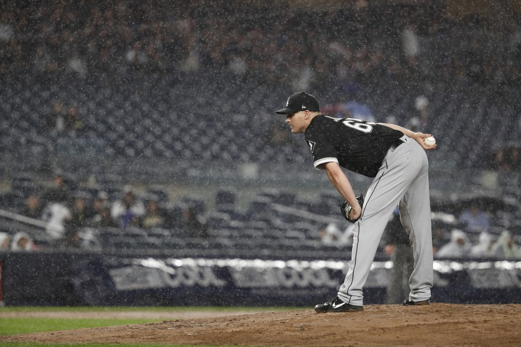 Chicago White Sox relief pitcher Nate Jones stands on the mound during the sixth inning of a baseball game against the New York Yankees on Friday, Apr...