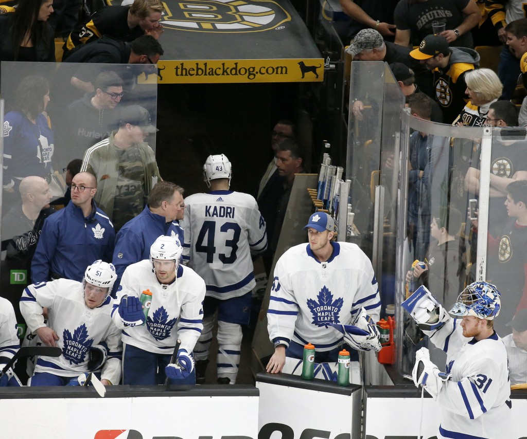 Toronto Maple Leafs center Nazem Kadri (43) leaves the ice after being ejected during the third period of Game 2 of an NHL hockey first-round playoff