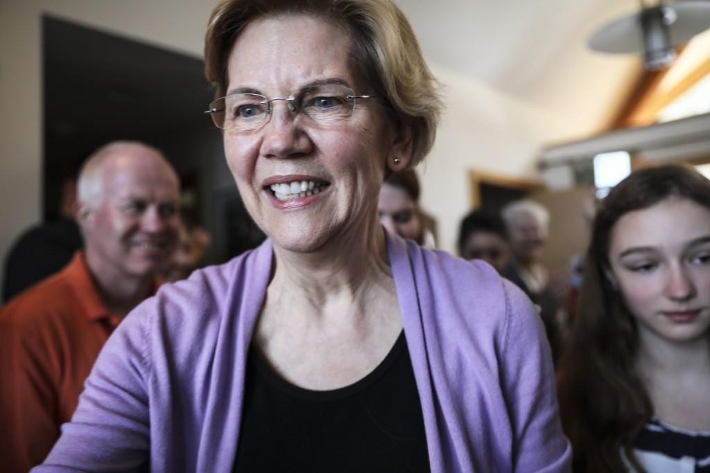 Sen. Elizabeth Warren D-Mass., arrives at the home...