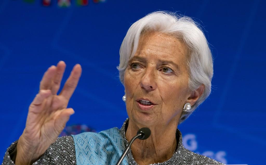 International Monetary Fund (IMF) Managing Director Christine Lagarde speaks during a news conference after the International Monetary and Financial C