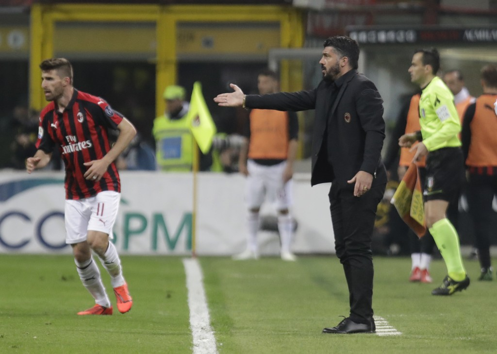 AC Milan coach Gennaro Gattuso gives instructions from the side line during the Serie A soccer match between AC Milan and Lazio, at the San Siro stadi...