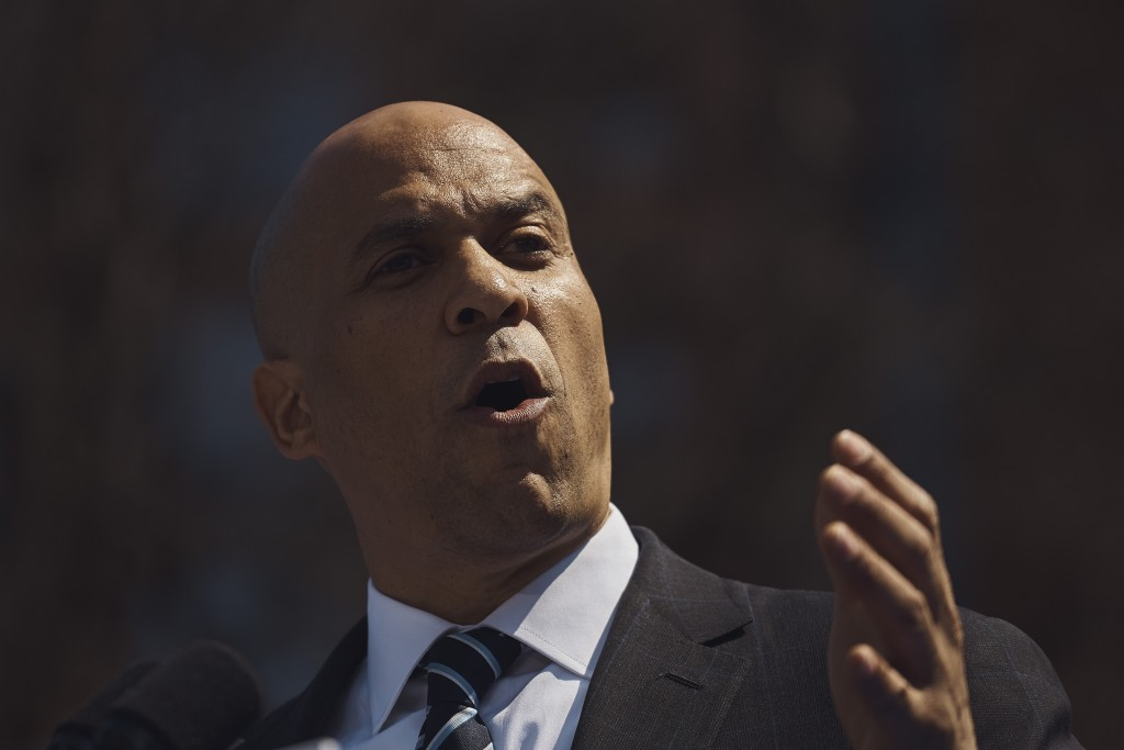 Democratic presidential candidate Sen. Cory Booker, D-N.J. talks to the crowd during a hometown kickoff for his national presidential campaign tour at