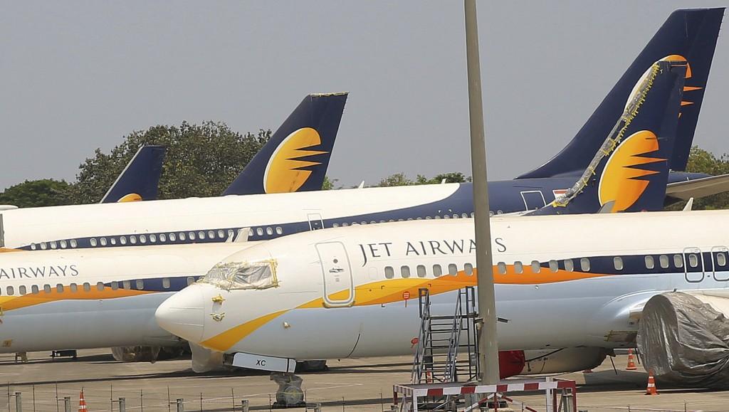 Jet Airways aircrafts are seen parked at Chhatrapati Shivaji Maharaj International Airport in Mumbai, Monday, April 15, 2019. India's ailing Jet Airwa...