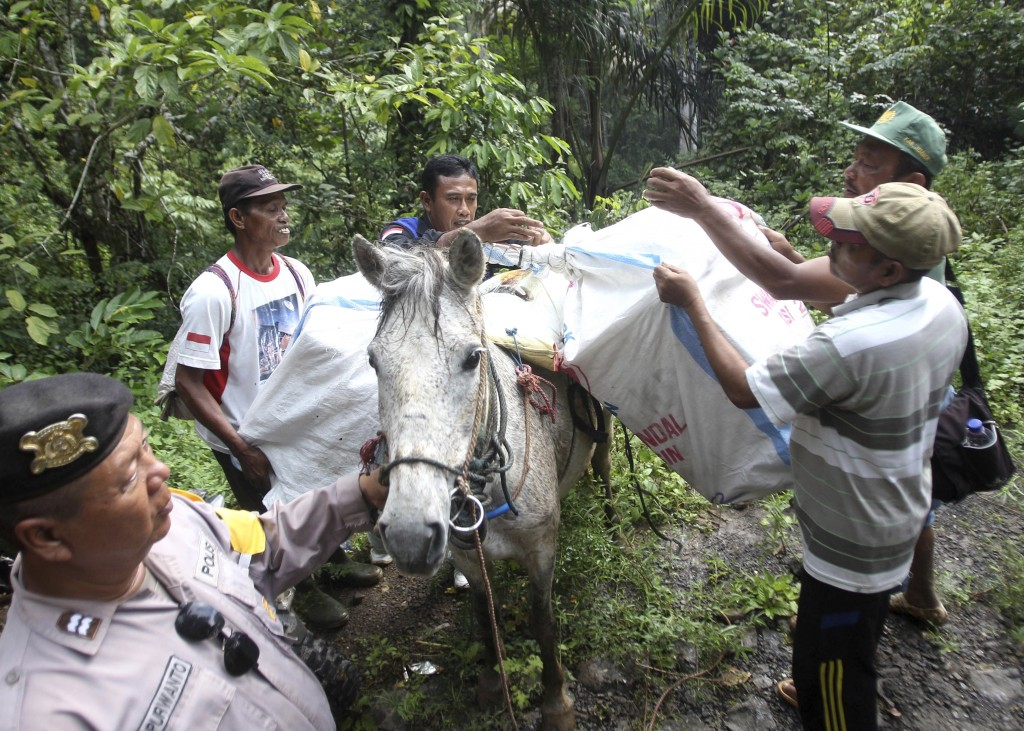 Workers load ballot boxes and other election paraphernalia onto a horse as they prepare to distribute them to polling stations in neighboring remote v