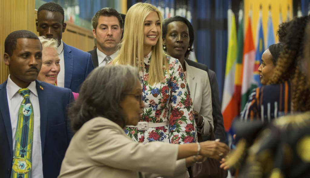 Ivanka Trump, the US president's daughter and senior advisor, center, arrives to attend the African Women's Empowerment Dialogue in Addis Ababa, Ethio