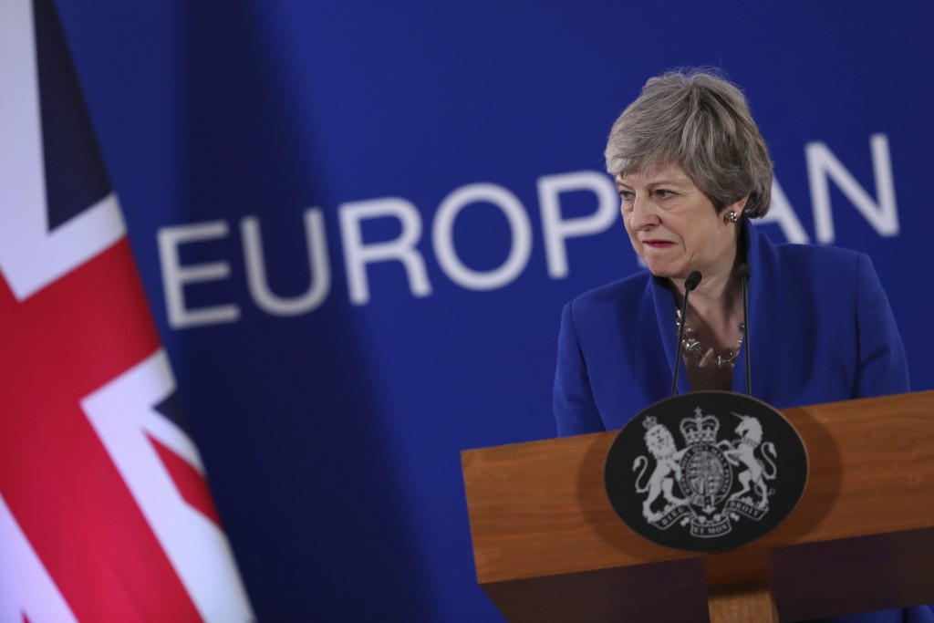 FILE - In this Thursday, April 11, 2019 file photo, British Prime Minister Theresa May speaks during a media conference at the conclusion of an EU sum