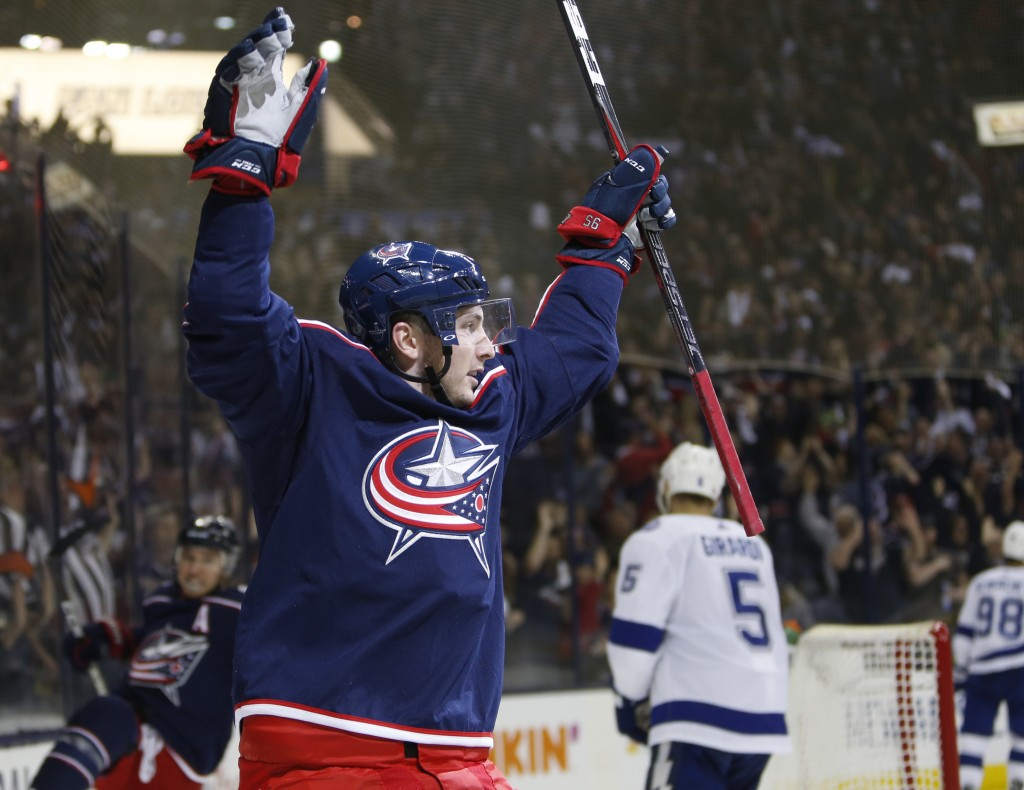 Columbus Blue Jackets' Matt Duchene celebrates his goal against the Tampa Bay Lightning during the second period of Game 3 of an NHL hockey first-roun