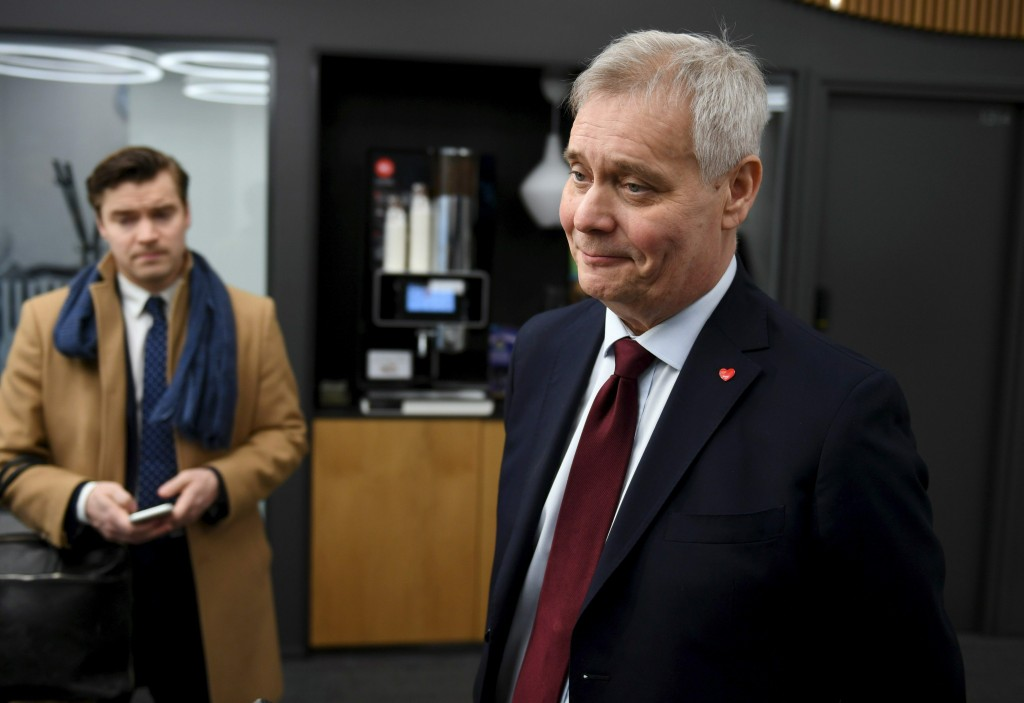 Social Democratic leader Party Antti Rinne speaks to the media at the Finnish Broadcasting Company Yle studios in Helsinki, Finland Monday morning, Ap...