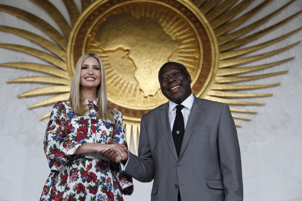 White House senior adviser Ivanka Trump, left, shakes hands with Kwesi Quartey, Deputy Chairperson of the African Union Commission (AUC), Monday April