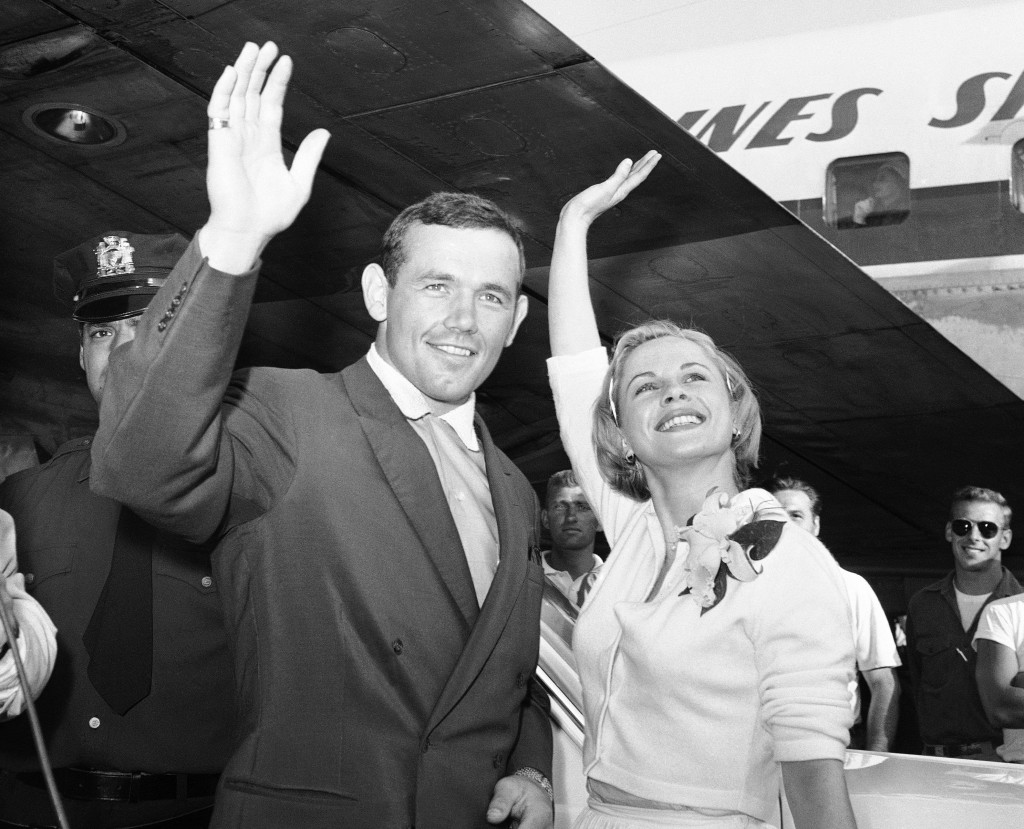 FILE - In this July 3, 1959 file photo, Swedish actress Bibi Andersson, right, and Sweden's Ingemar Johansson wave for the photographers at New York's
