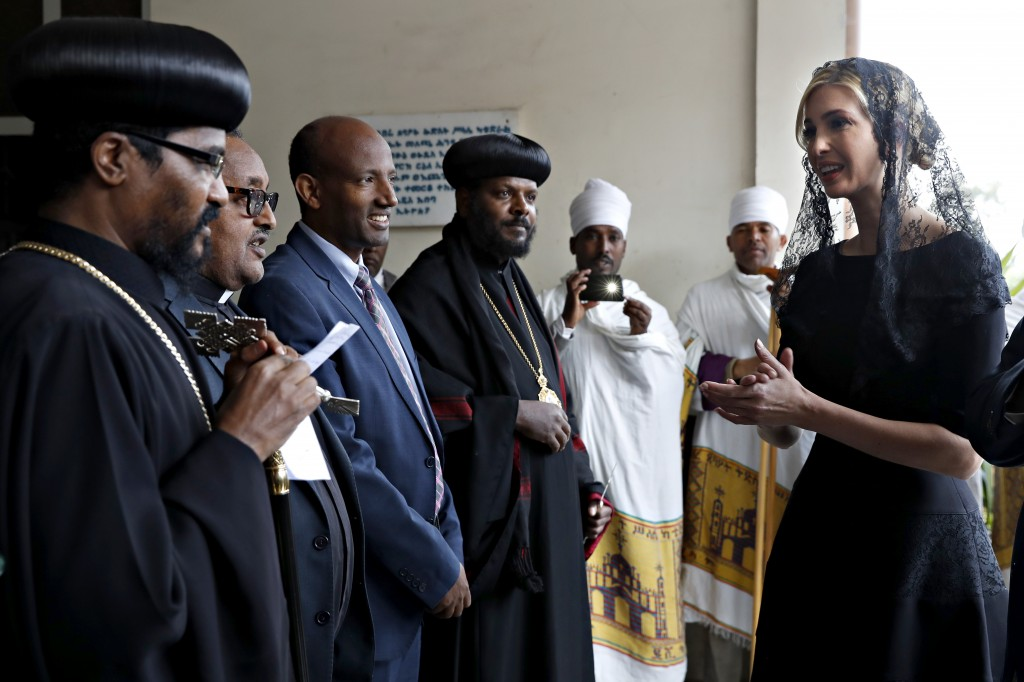 White House senior adviser Ivanka Trump, right, arrives for a ceremony at Holy Trinity Cathedral honoring the victims of the Ethiopian Airlines crash,