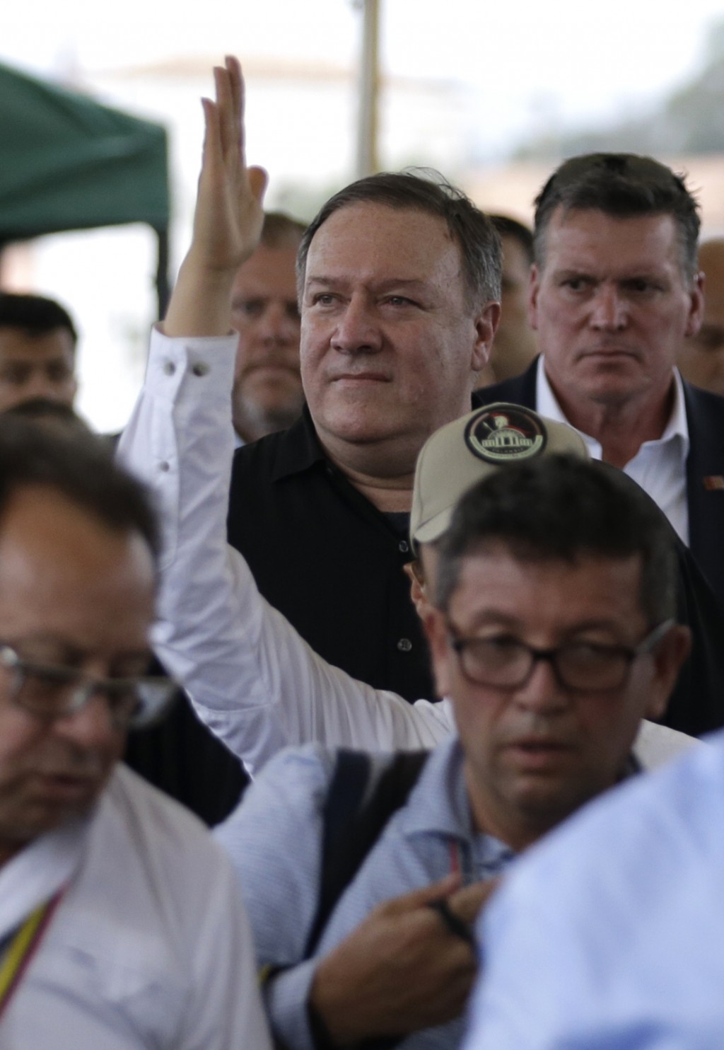 U.S. Secretary of State Mike Pompeo tours La Parada near Cucuta, Colombia, on the border with Venezuela, Sunday, April 14, 2019. Pompeo is on a four-d