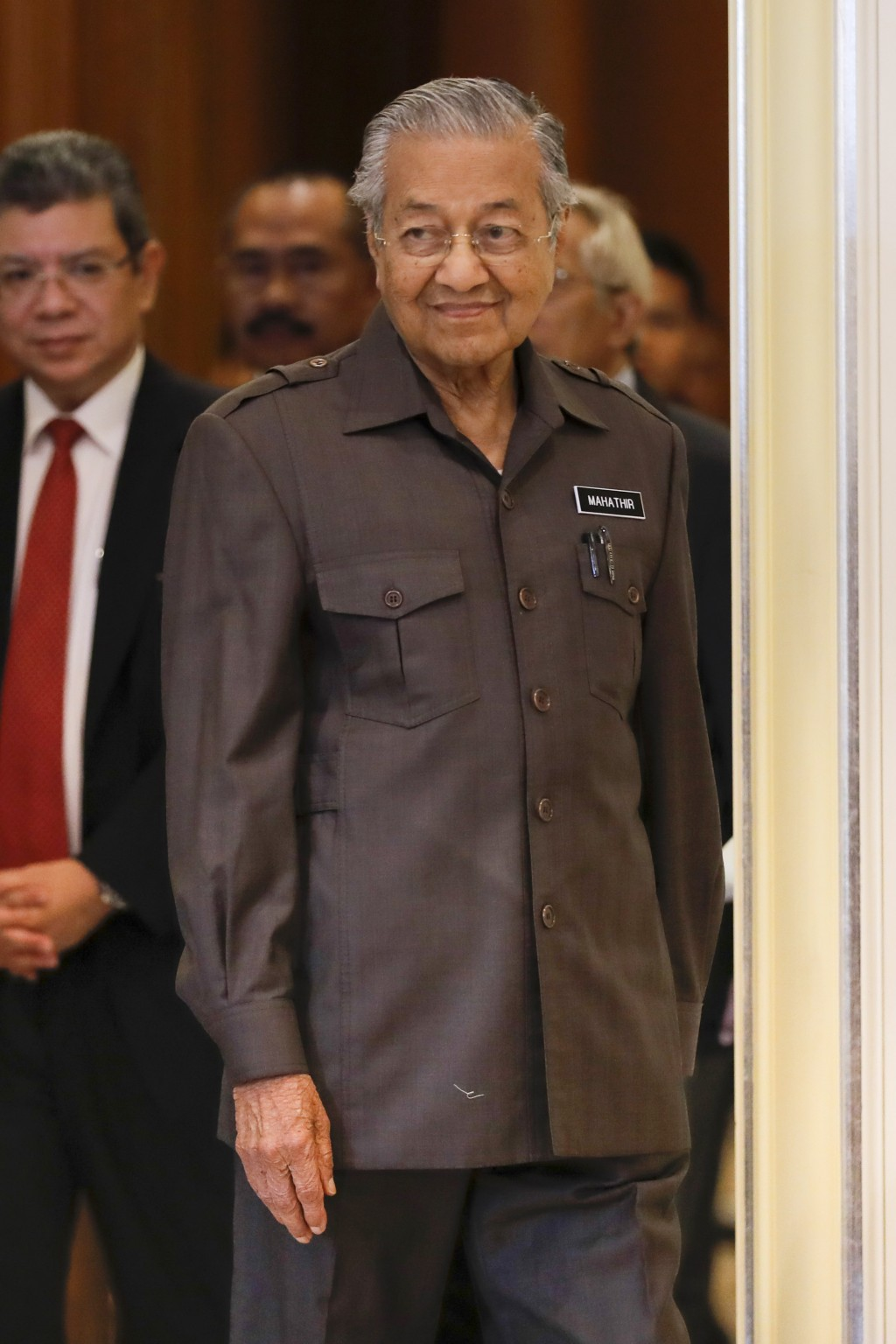 Malaysian Prime Minister Mahathir Mohamad arrives for a press conference in Putrajaya, Malaysia, Monday, April 15, 2019. Malaysia's government decided