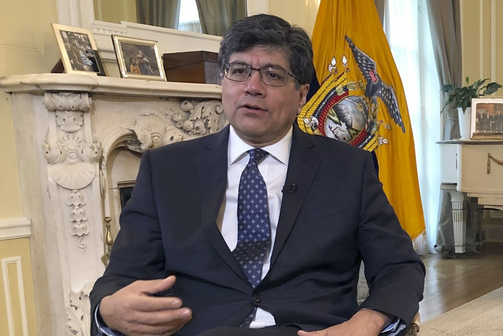 Ecuadorean Foreign Minister Jose Valencia speaks during an interview with The Associated Press at the residence of the ambassador of Ecuador to the U.