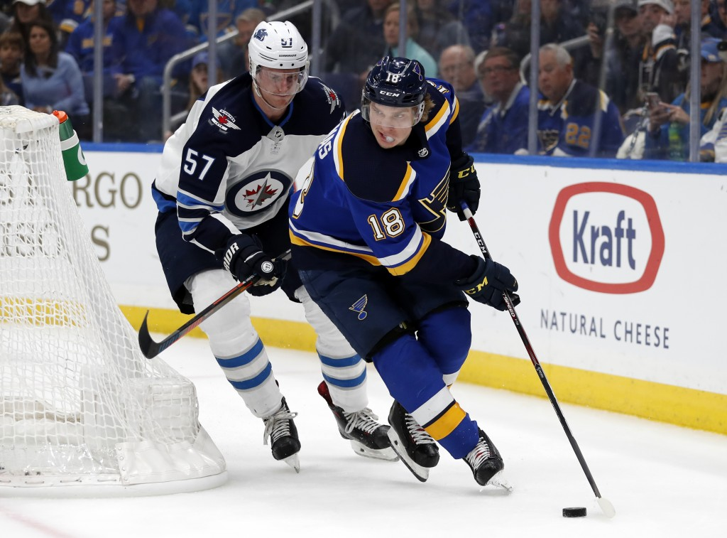 St. Louis Blues' Robert Thomas (18) handles the puck as Winnipeg Jets' Tyler Myers (57) defends during the second period in Game 3 of an NHL first-rou