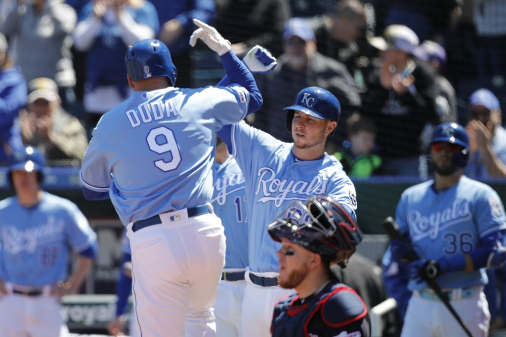 Kansas City Royals' Lucas Duda (9) celebrates with Ryan O'Hearn (66) after hitting a three-run home run in the second inning of a baseball game agains