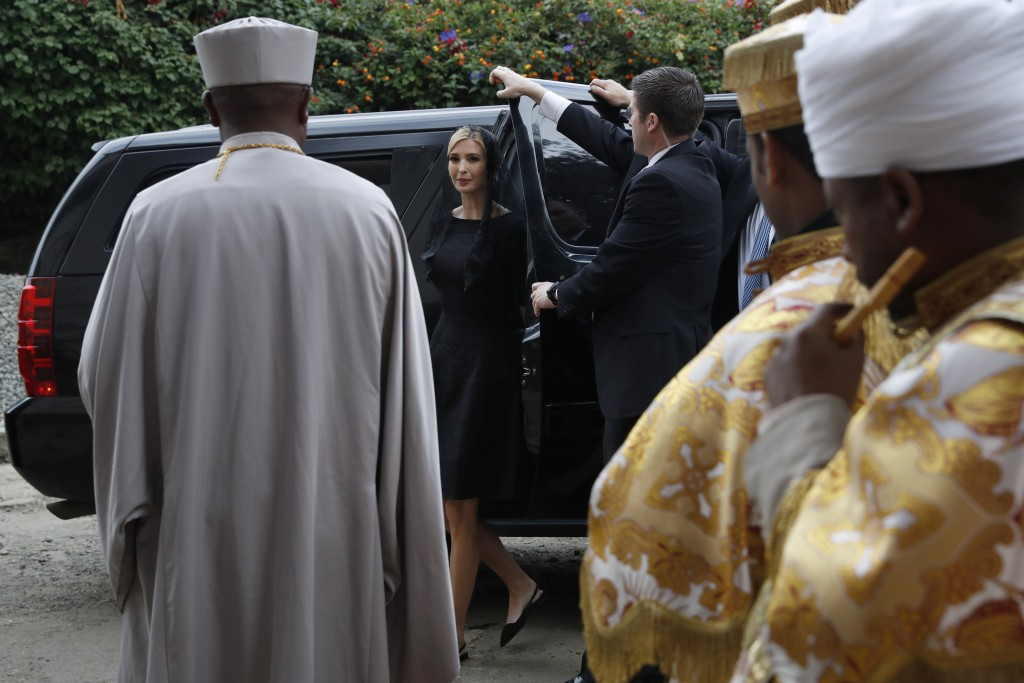 White House senior adviser Ivanka Trump, center, arrives for a ceremony at Holy Trinity Cathedral honoring the victims of the Ethiopia Airlines crash,