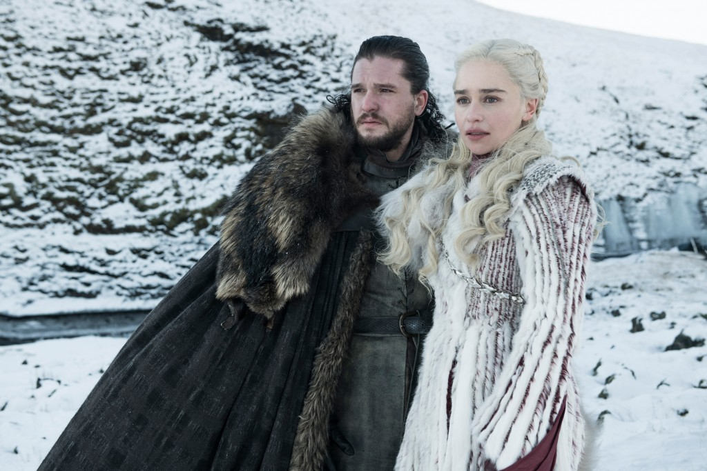 "This photo released by HBO shows Kit Harington as Jon Snow, left, and Emilia Clarke as Daenerys Targaryen in a scene from ""Game of Thrones,"" which pre"
