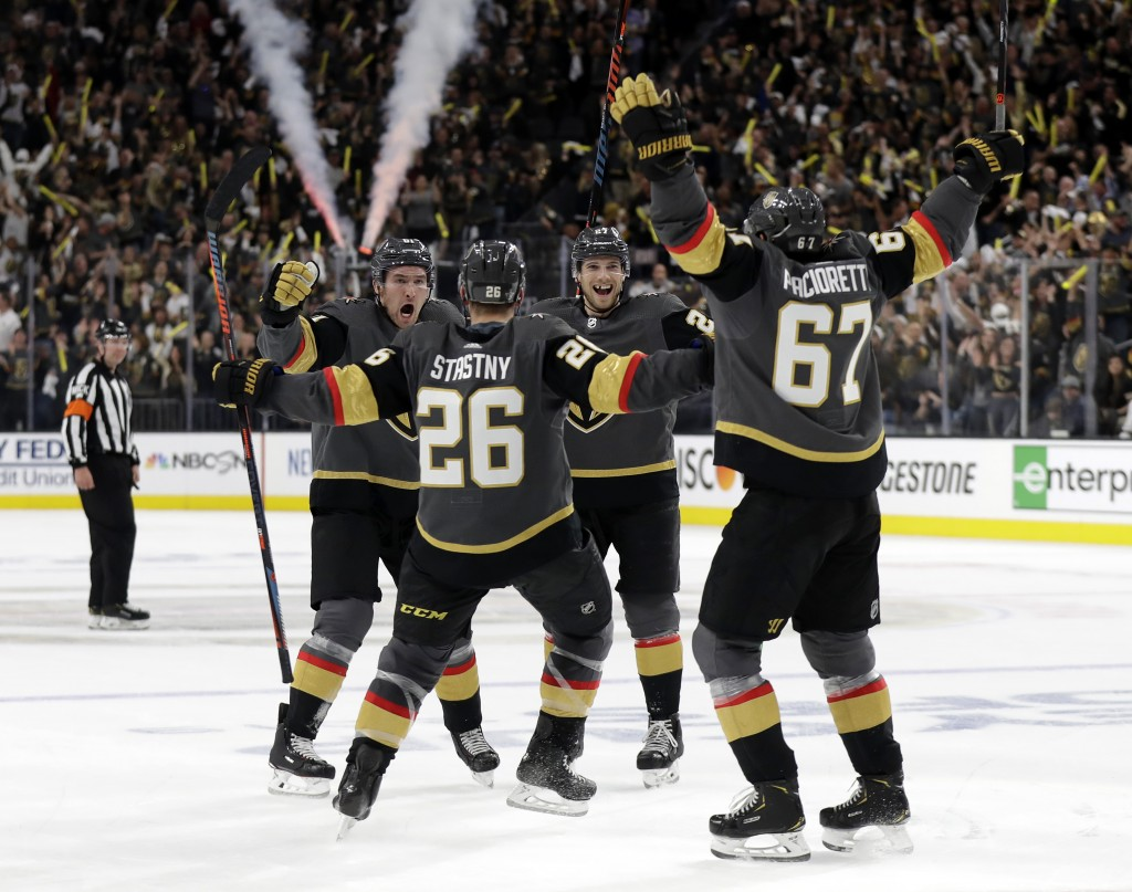 Vegas Golden Knights center Paul Stastny (26) celebrates after scoring against the San Jose Sharks during the second period of Game 3 of an NHL first-