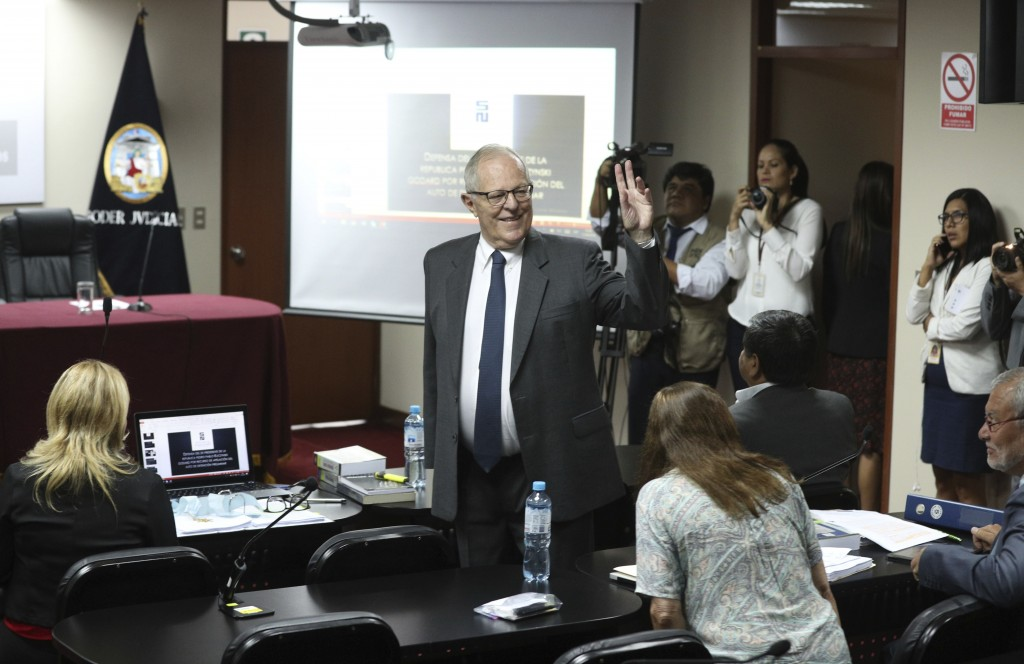Peru's former President Pedro Pablo Kuczynski arrives for a court hearing to determine his release, in Lima, Peru, Monday, April 15, 2019. A judge in