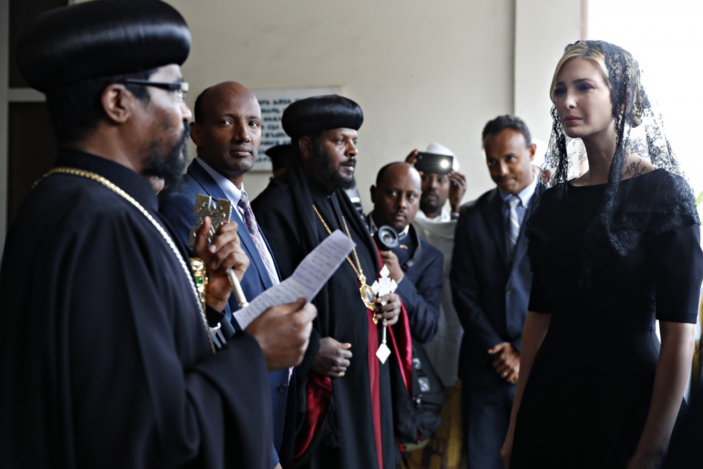 White House senior adviser Ivanka Trump, right, is greeted as she arrives for a ceremony at Holy Trinity Cathedral honoring the victims of the Ethiopi