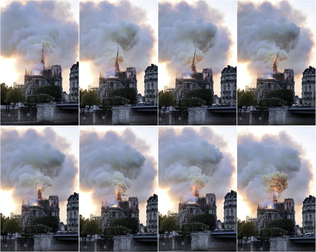 In this combination of photos, flames and smoke rise as the spire on the Notre Dame Cathedral collapses during a fire in Paris, Monday, April 15, 2019
