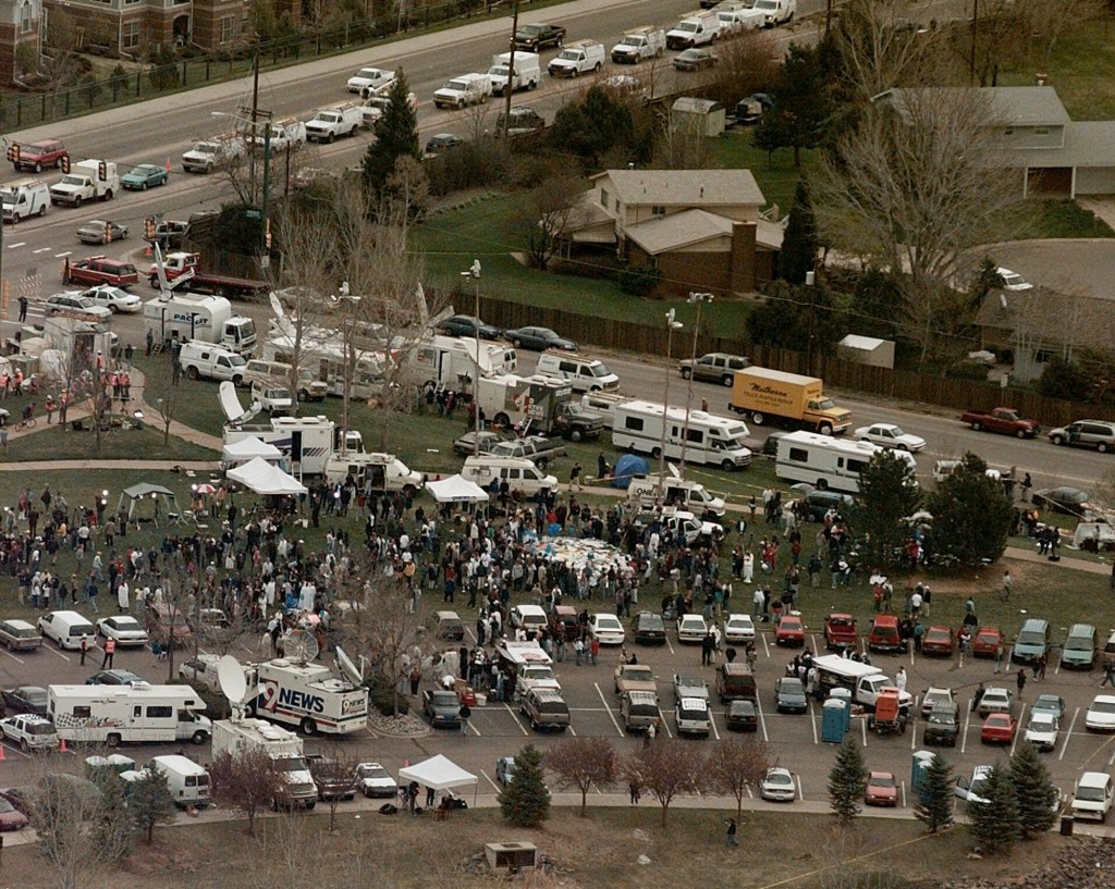FILE - This April 21, 1999, file photo, shows the news media compound near Columbine High School in Littleton, Colo. Twelve students and one teacher w