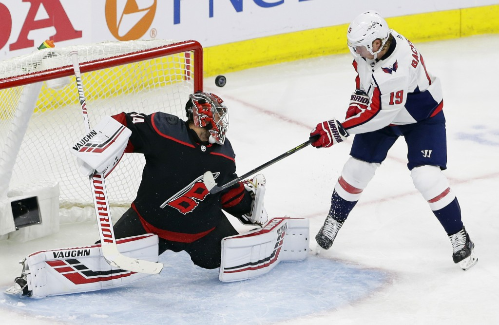 Carolina Hurricanes goalie Petr Mrazek, of the Czech Republic, blocks Washington Capitals' Nicklas Backstrom (19), of Sweden, during the third period