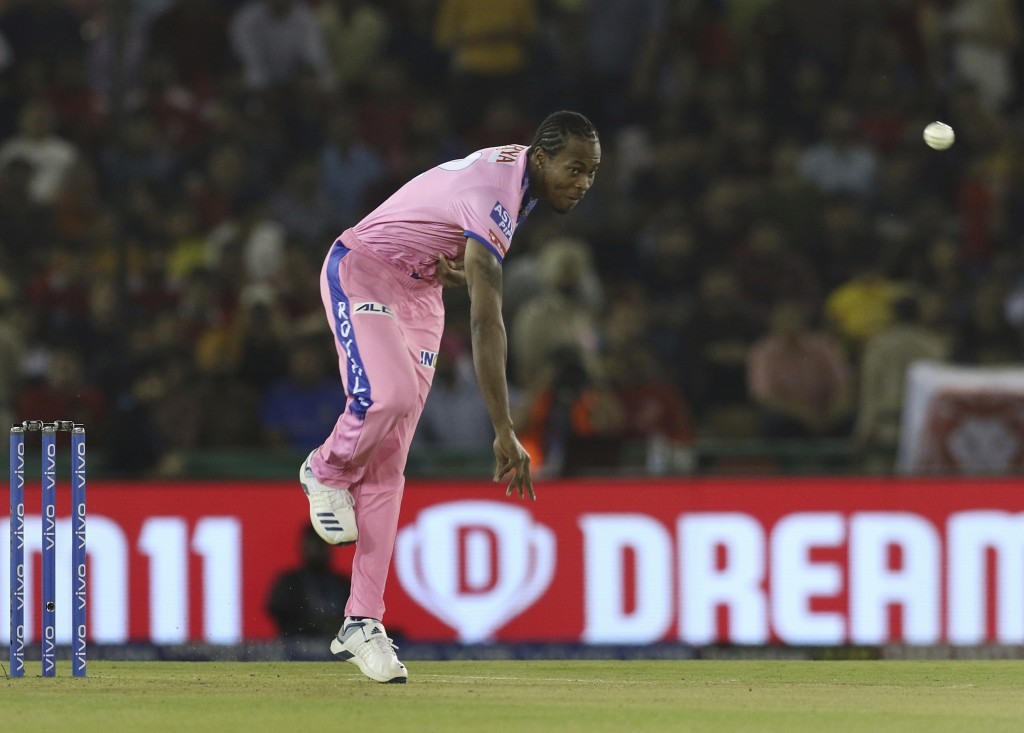 Jofra Archer of Rajasthan Royals bowls during the VIVO IPL T20 cricket match between Kings XI Punjab and Rajasthan Royals in Mohali, India, Tuesday, A