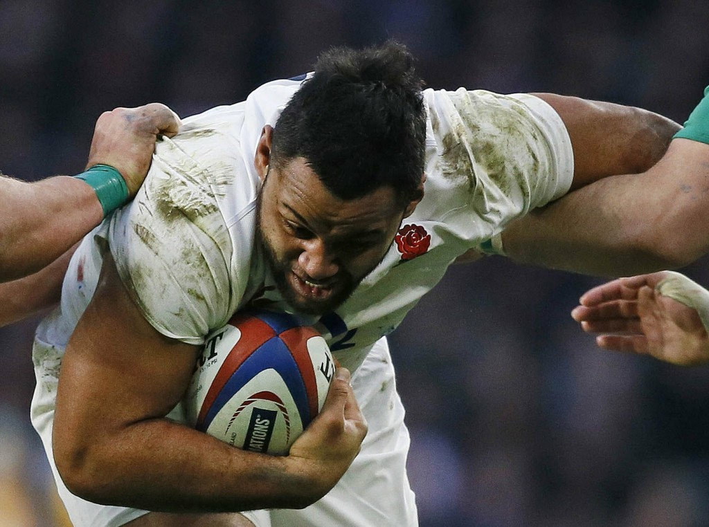 FILE - In this file photo dated Saturday, Feb. 27, 2016, England's Billy Vunipola in during the Six Nations international rugby match against Ireland