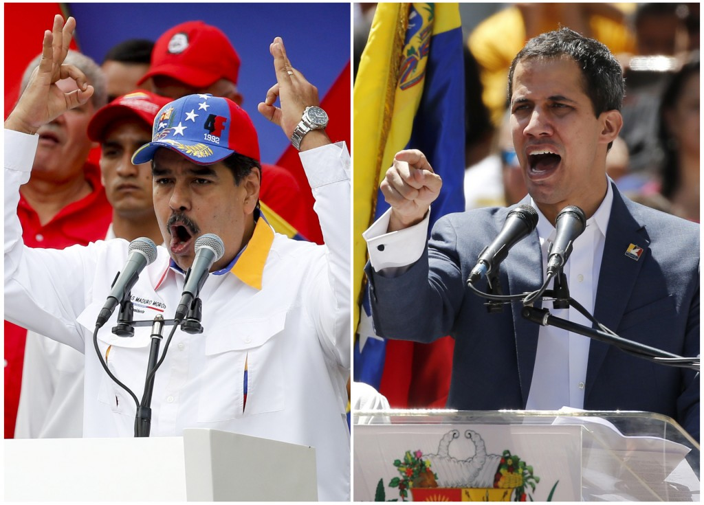FILES - This combination of file photos shows Venezuela's President Nicolas Maduro on March 23, 2019 addressing supporters at an anti-imperialist rall