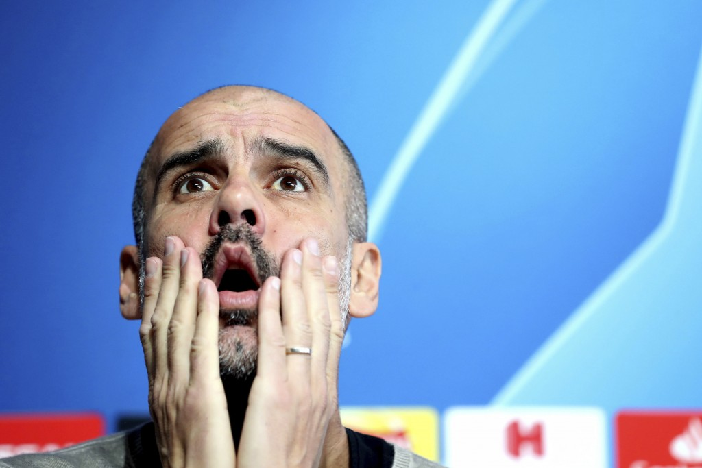 Manchester City manager Pep Guardiola during the press conference at the City Football Academy in Manchester, England, Tuesday April 16, 2019. Man Cit