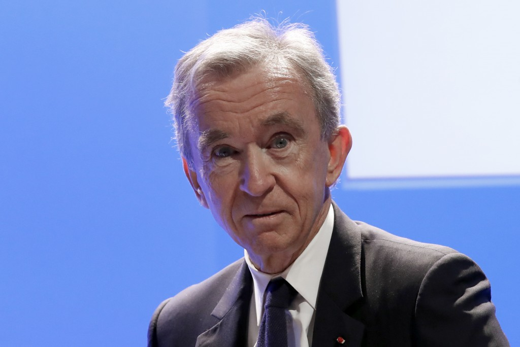 FILE - In this Tuesday, Jan. 29, 2019 file photo CEO of LVMH Bernard Arnault arrives to present the group's 2018 results during a conference in Paris....