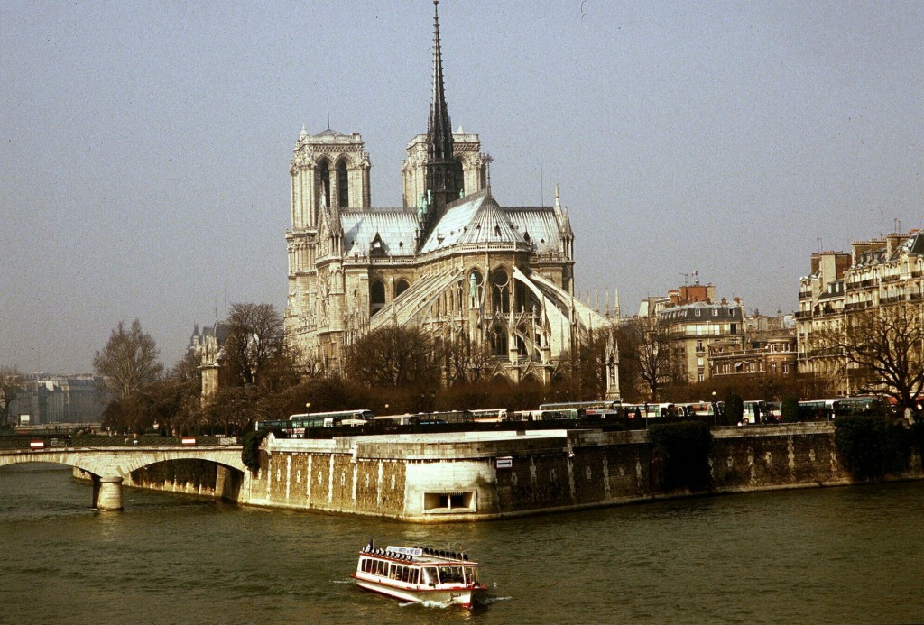 FILE - This 1987 file photo shows the Notre Dame Cathedral in Paris. Art experts around the world reacted with horror to news of the fire that ravaged