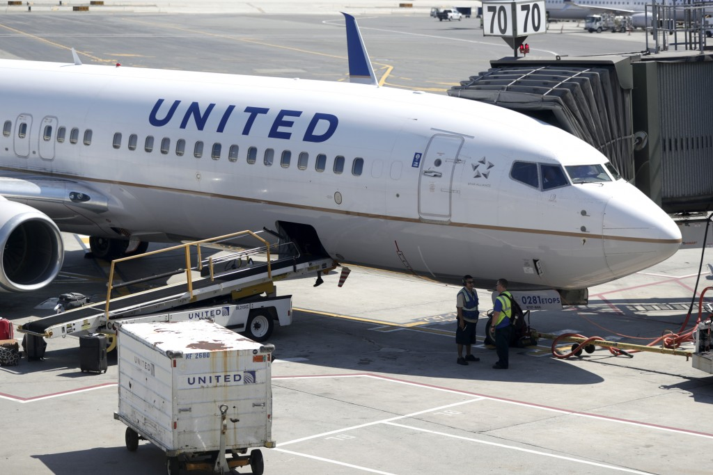 FILE - In this July 18, 2018, file photo a United Airlines commercial jet sits at a gate at Terminal C of Newark Liberty International Airport in Newa...