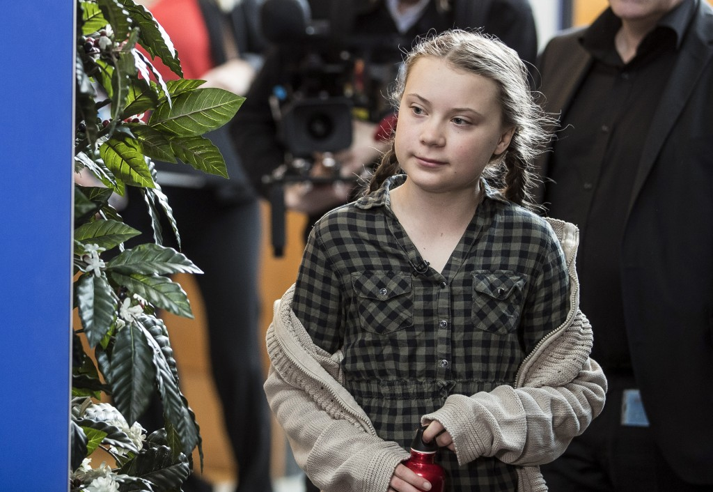 Swedish environmental activist Greta Thunberg arrives to speak to the media at the European Parliament in Strasbourg, Eastern France, Tuesday April 16