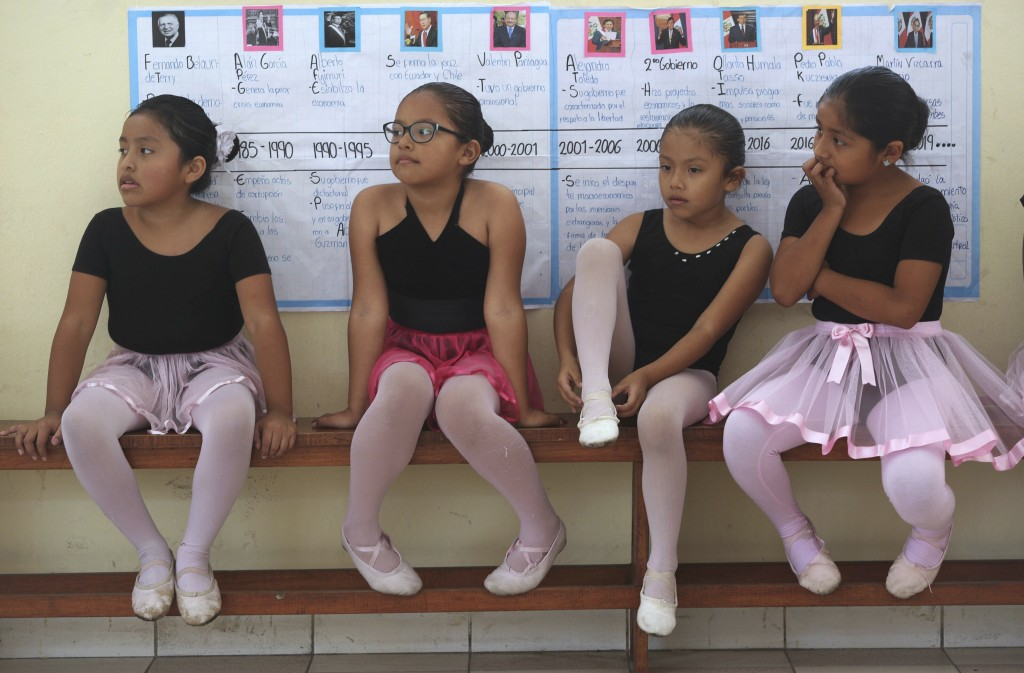 In this April 2, 2019 photo, ballet students wait for the start of their lesson at a public school in the Chorrillos neighborhood, a poor part of Lima