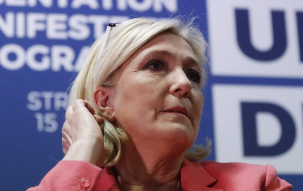 Far-right leader of the National Rally party Marine Le Pen, attends a media conference for the upcoming European elections next month in Strasbourg, e