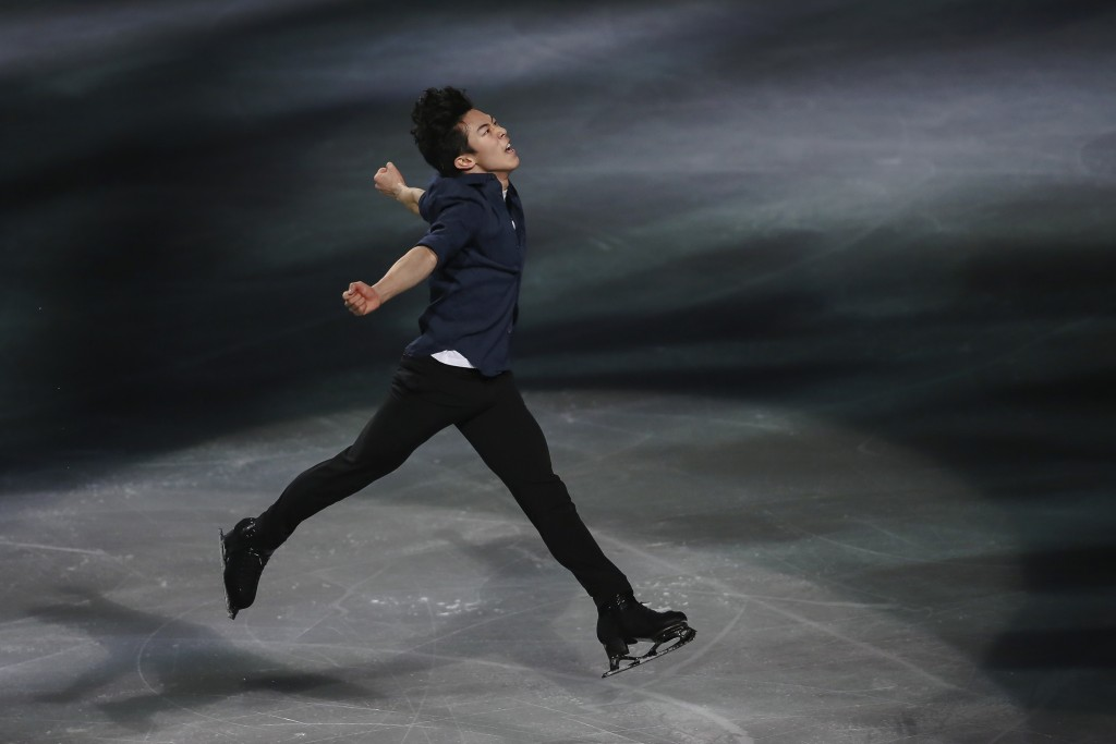 FILE - In this March 24, 2019, file photo, gold medalist Nathan Chen, from the United States, performs during the gala exhibition for the ISU World Fi