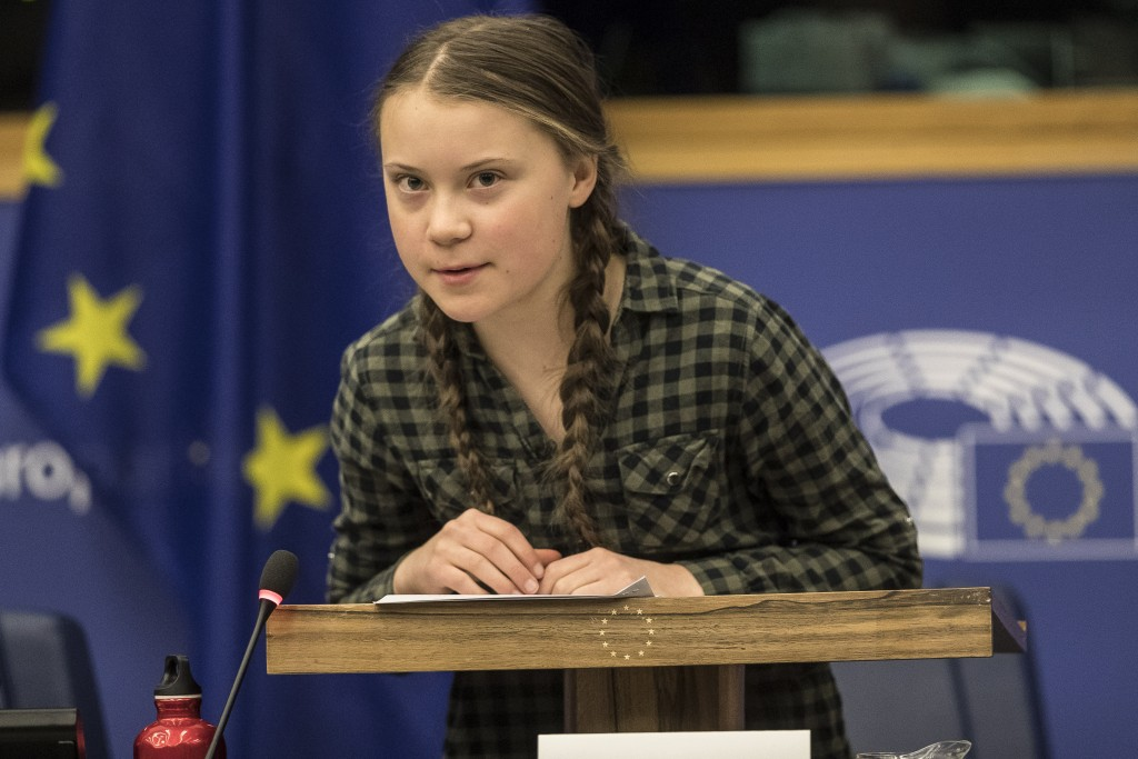Young Swedish environmental activist Greta Thunberg speaks during a special meeting of the Environment Committee at the European Parliament in Strasbo