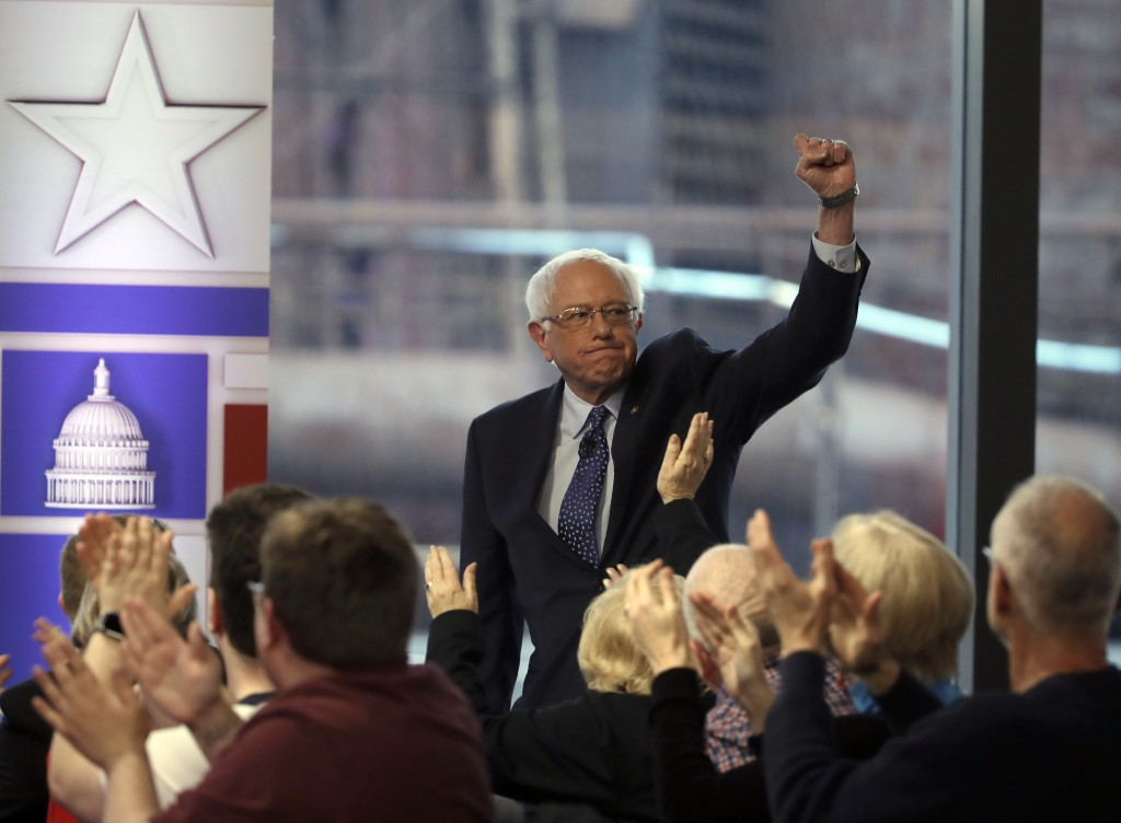 U.S. Sen. Bernie Sanders is greeted by audience members before a Fox News town-hall style event, Monday, April 15, 2019, in Bethlehem, Pa. (AP Photo/M