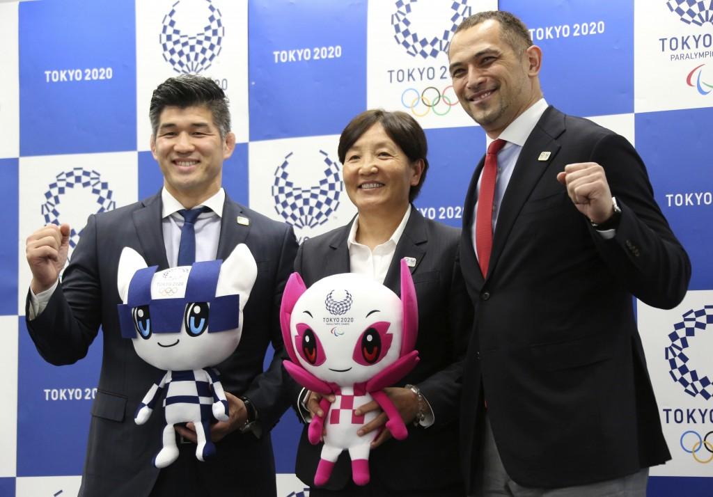 From left, Men's Judo Japan national team head coach Kosei Inoue, Women's Softball Japan national team head coach Reika Utsugi and Tokyo 2020 Sports D