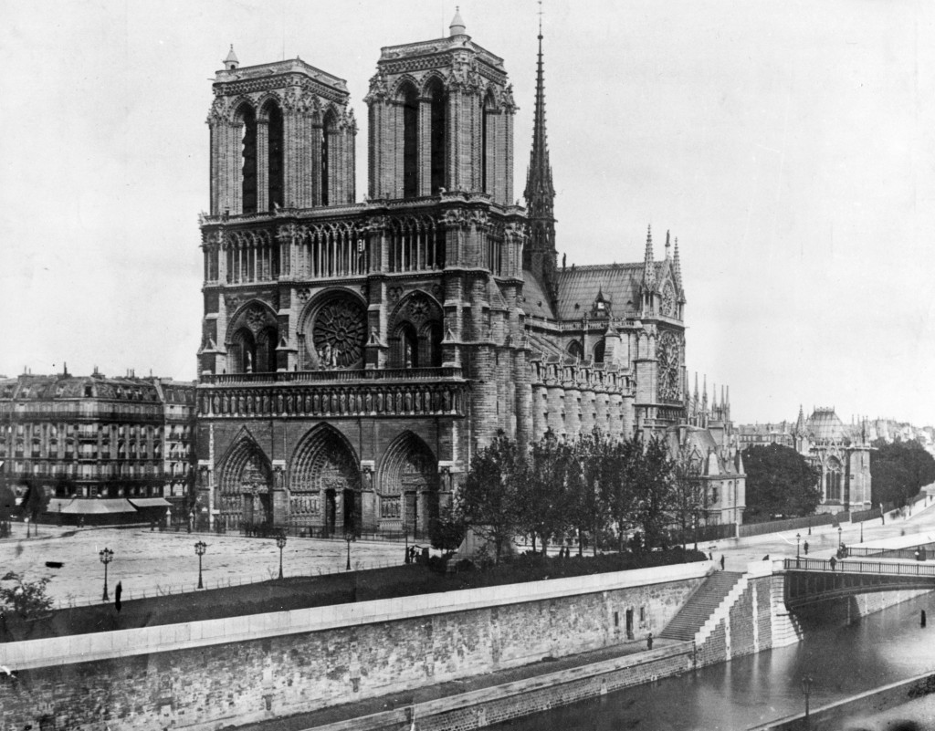 FILE - This 1911, file photo shows the Notre Dame Cathedral, on the island called Ile de la Cite in Paris. Art experts around the world reacted with h
