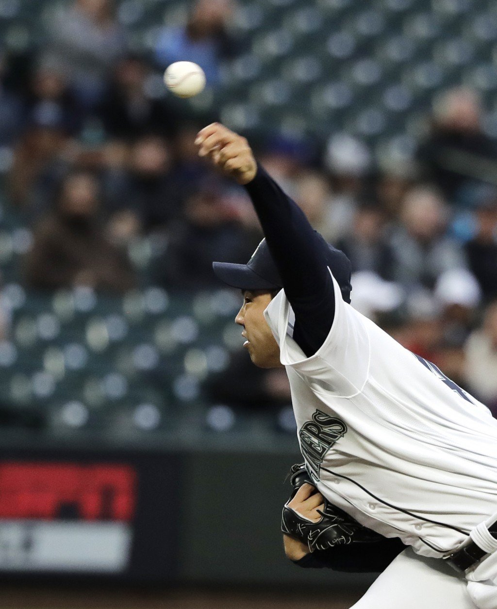 Seattle Mariners starting pitcher Yusei Kikuchi throws against the Cleveland Indians during the first inning of a baseball game, Monday, April 15, 201