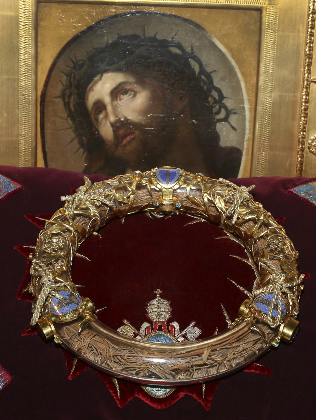 FILE - In this Friday March 21, 2014 file photo a crown of thorns which was believed to have been worn by Jesus Christ and which was bought by King Lo
