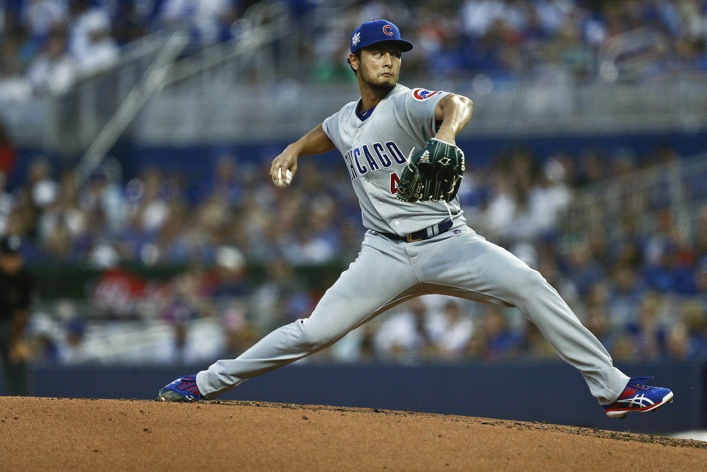 Chicago Cubs starting pitcher Yu Darvish delivers during the first inning of a baseball game against the Miami Marlins, Monday, April 15, 2019, in Mia