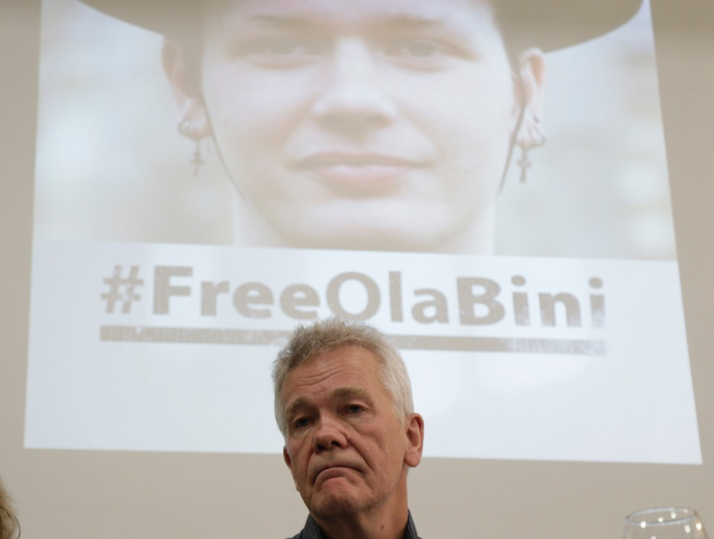 The father of detained Swedish programmer Ola Bini, Dag Gustafsson, attends a press conference in Quito, Ecuador, Tuesday, April 16, 2019. The ace Swe