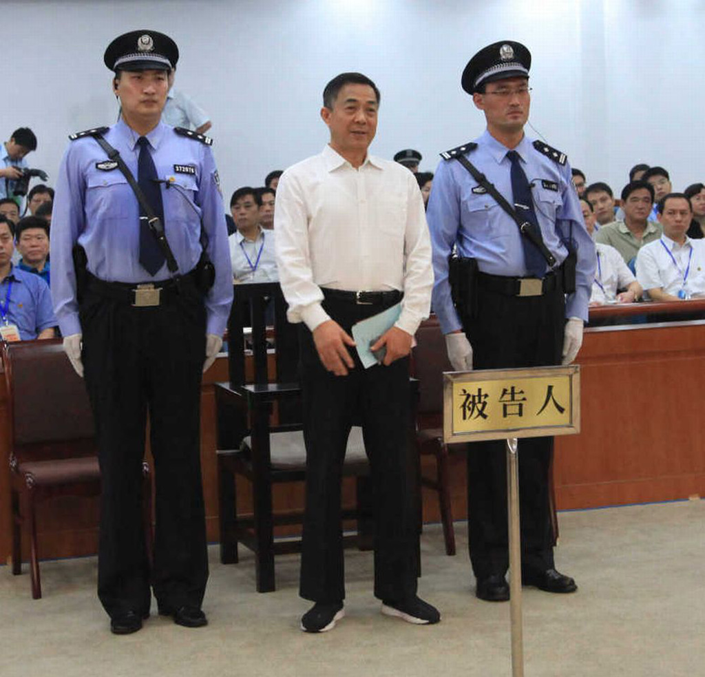 In a 22 Sept. 2013 file photo, Bo Xilai, former China's Communist Party high-level politician was convicted of life sentence at Jinan court.