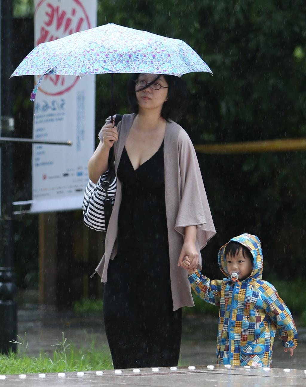 受梅雨鋒面影響,氣象局持續發布豪雨特報,並表示中部以北是豪雨警戒區,呼籲民眾注意。中央社記者張新偉攝 103年5月20日